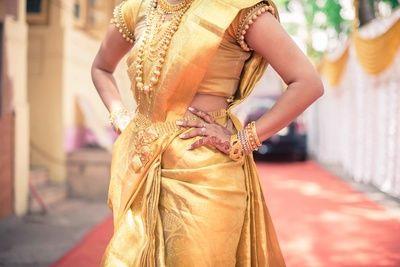 silk saree, south indian saree, gold saree, gold haar