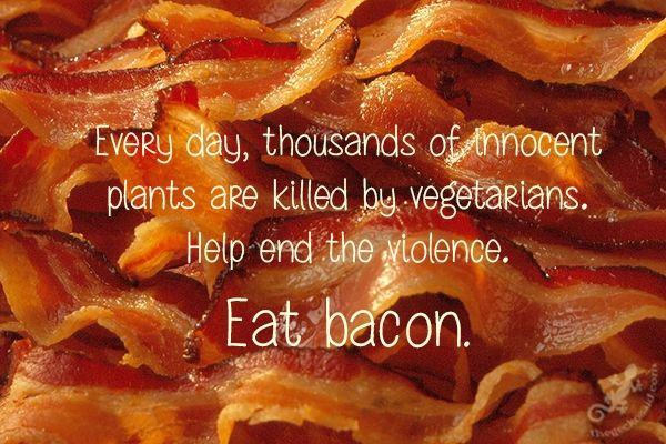 Every day, thousands of innocent plants are killed by vegetarians.Help end the violence. Eat bacon.  #day #thousands #innocent #plant #killed #vegetarians #violence #bacon #quotes  ©The Gecko Said - Beautiful Quotes - Thegeckosaid.com™