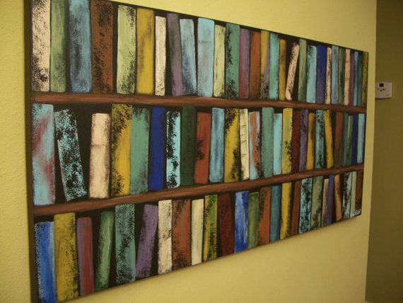 Abstract Bookcase Painting Commission Red Blue Gold Brown