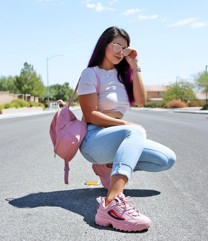 pink fila disruptor outfit