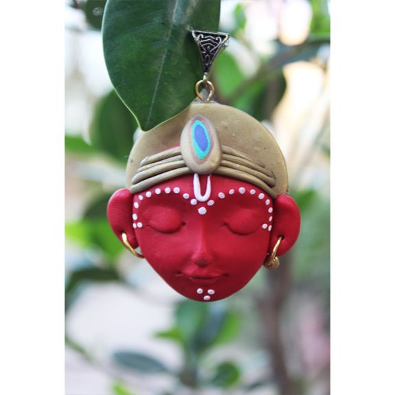 The possibilities of creative ideas are endless when it comes to Polymer Clay and we present to you, our collection of skillfully crafted ethnic jewelry designs, which are inspired by divinity Care - Store in zip lock pouches and clean with soft cotton when required  Dimension - L 8cms;  weight 20gms; Colour - red + antique gold  Material - Polymer ; Finish - Handcrafted ; Metal Bail