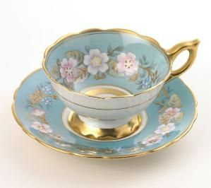 "Vintage ROYAL STAFFORD ""Garland"" TEA CUP and SAUCER Blue by yvette"