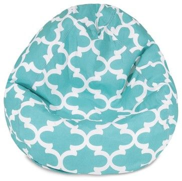 Teal Trellis Small Classic Bean Bag - midcentury - Patio Furniture And Outdoor Furniture - Majestic Home Goods
