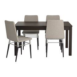 IKEA - BJURSTA / PREBEN, Table and 4 chairs, , Extendable dining table with 2 extra leaves seats 4-8; makes it possible to adjust the table size according to need.You can store the extension leaves within easy reach under the table top.Concealed lock keeps the extension leaves in place and prevents gaps between them.The clear-lacquered surface is easy to wipe clean.You sit comfortably thanks to the padded seat.