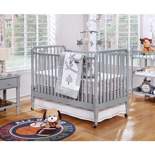 Shermag Jenny Lind 3 In 1 Convertible Crib Fog Gray