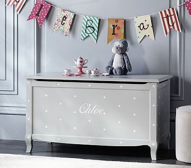 Claudia Toy Chest, Vintage Soft Gray Stars #pbkids