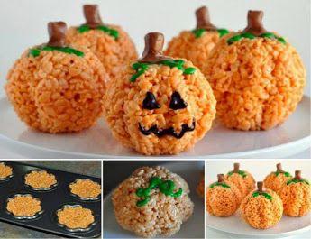 Rice Krispie Pumpkin Treats for Halloween table