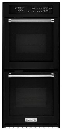 """KitchenAid - 24"""" Built-In Double Electric Convection Wall Oven - Black"""