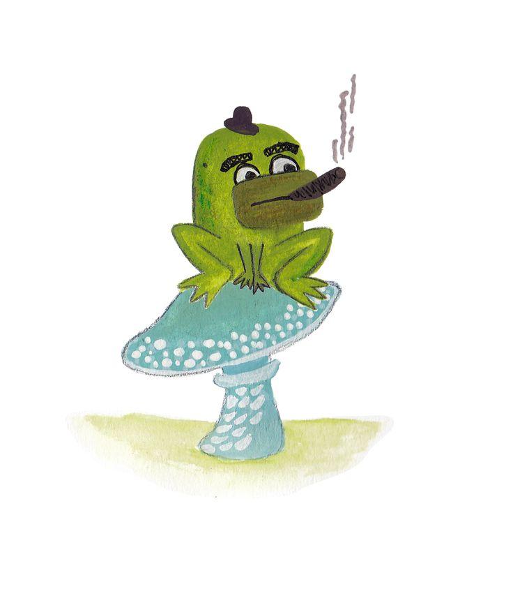 Mafia frog chilling on a mushroom #illustration #frog