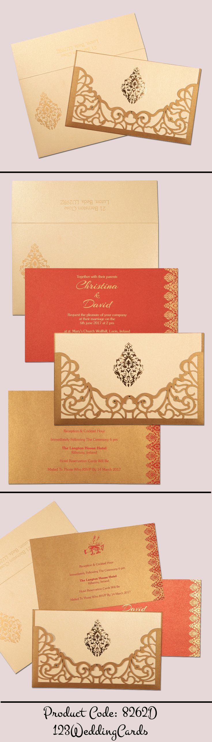how to write muslim wedding invitation card%0A Shimmery damask themed  laser cut wedding card   i    d