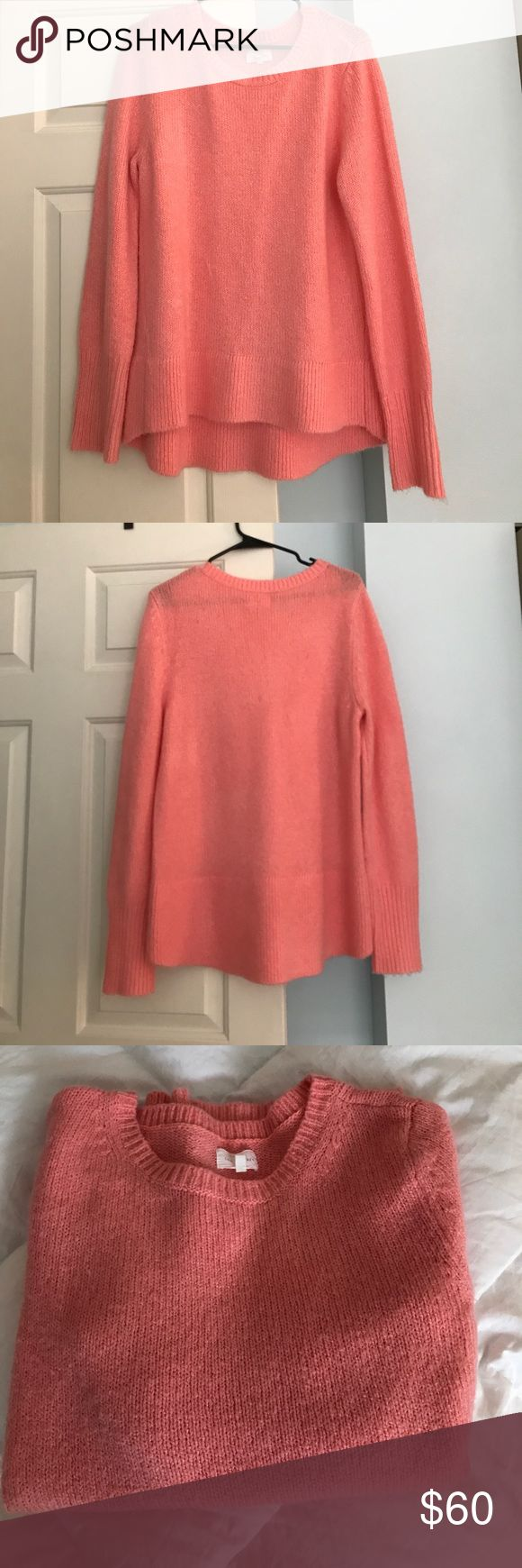 Lou & Gray Peachy/Pink Knit Sweater Worn once Lou & Gray knit sweater. Super bright and unique pinkish/peach color. The 5th pic is probably the truest representation of color. Size L. High/low effect but not obnoxious. 89% acrylic, 10% Polyester, 1% spandex. Beyond soft and fluffy! I wore it over a navy midi skirt and ankle boots. Lou & Grey Sweaters