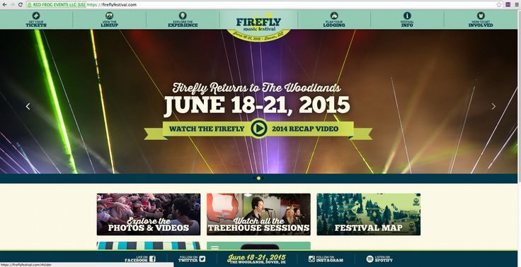 For the Firefly Music Festival website I really like the global navigation at the very top of the page. Rather than an image at the very top and global navigation below like a lot of websites do. If I used this for my webpage I would have my global navigation at the very top with a logo in the center just like this. For my main content area I  would put an interesting image as the main content with text over it (probably just my name).