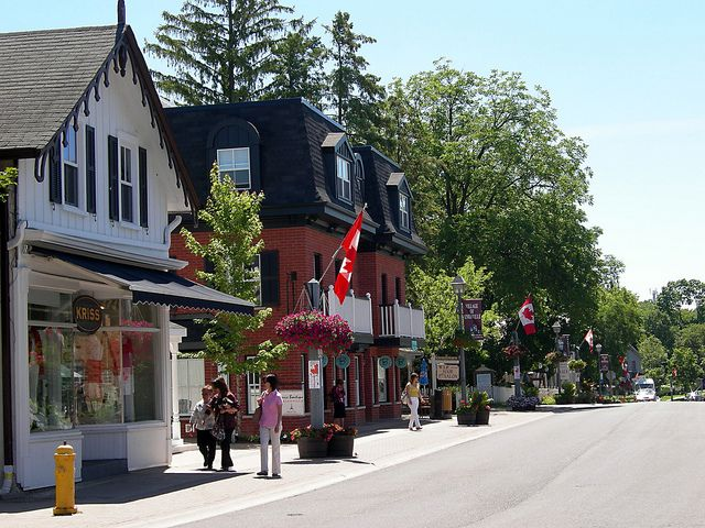 The Main Street of the Village of Unionville in The City of Markham. Unionville is a heritage conservation district and home to many restored 19th and 20th Century buildings. It's a great place to spend a summer afternoon!