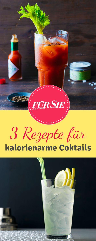 Mit diesen Drinks könnt ihr unbeschwert feiern. Wir zeigen euch drei kalorienarme Rezepte für Cocktails!