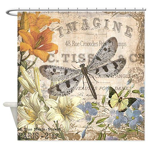 Interesting Dragon Fly Shower Curtain. HANHAOKI Modern Vintage French Dragonfly Shower Curtain  24 best images on Pinterest