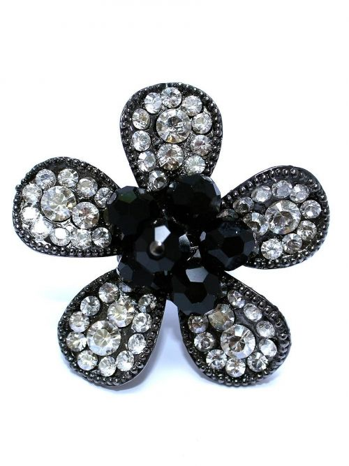 Charisma Ring - Swarovski Jet Black Cluster Center & Silver Crystal Shade Petals