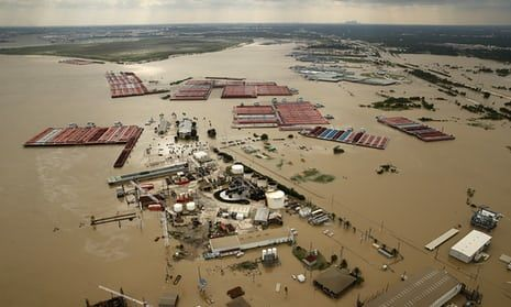 Harvey devastation: the flood-swollen Burnet Bay along the Houston Ship Channel in Texas. The White House has prepared a request to Congress for an emergency $5.9bn (£4.6bn) package in Harvey recovery aid, as flood waters receded in Houston to reveal swaths of devastation wrought by the former hurricane: September 2017.