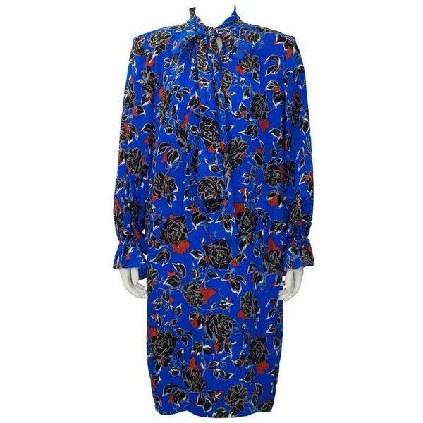 Preowned 1980's Yves Saint Laurent Ysl Jacquard Silk Print Dress ($550) ❤ liked on Polyvore featuring dresses, informal dresses, purple, blue long sleeve dress, long sleeve purple dress, tie necktie, long dresses and royal blue long dress