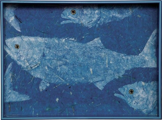 "Blue Fish 15"" X 20"" Serving Tray - Beach Style - Serving Trays - by LLdecor"