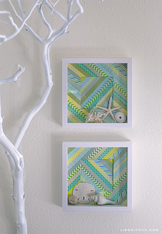 Washi Tape Shadow Box to Display Your Found Treasures