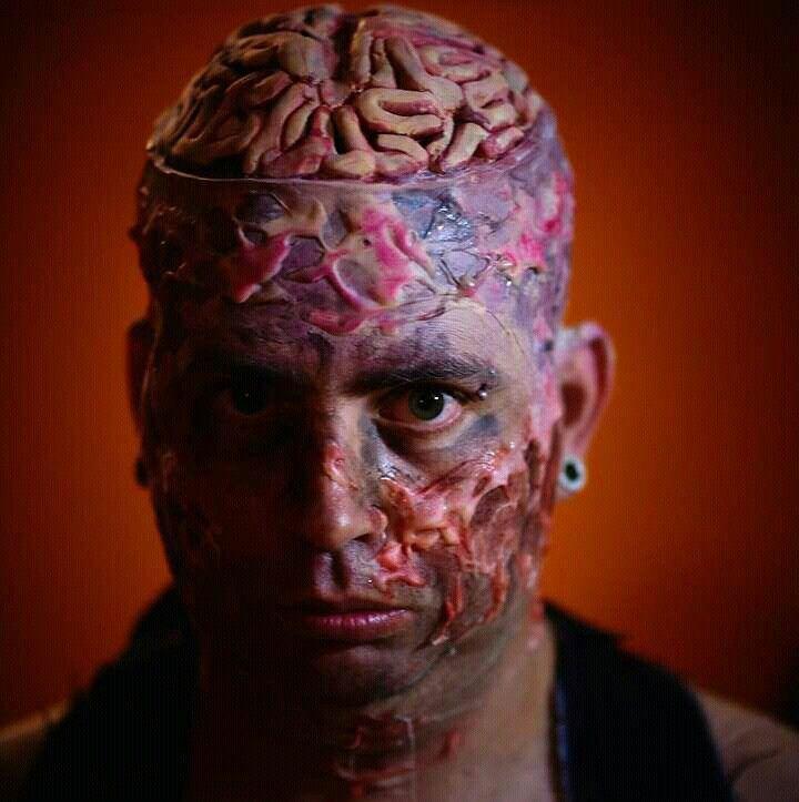 exposed brain mutant latex prosthetics