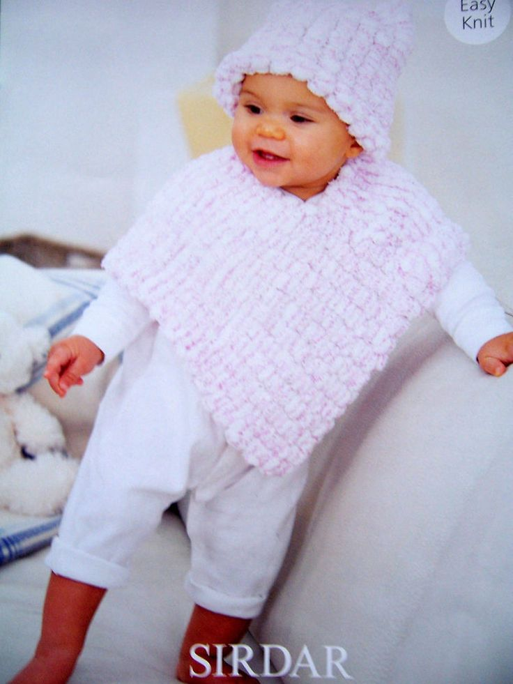 Knitting Pattern Sirdar Snowball 1937 BABY/CHILDS PONCHO AND HAT 0-7 years in Crafts, Knitting, Patterns | eBay