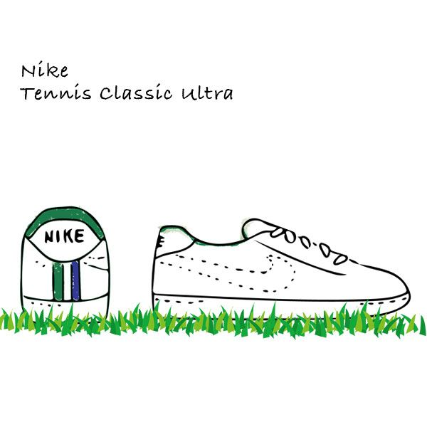 Illustration for a tennis featured sport style guide Court Fit Contemporary 'Nike Tennis Classic Ultra' スポーツファッションのイラスト『ナイキ テニス クラシック ウルトラ』