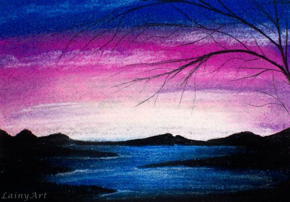 Blue Sunset ACEO soft pastel drawing All proceeds to by LainyArt- this original ACEO piece was created with pastels and coloured pencils on blue paper