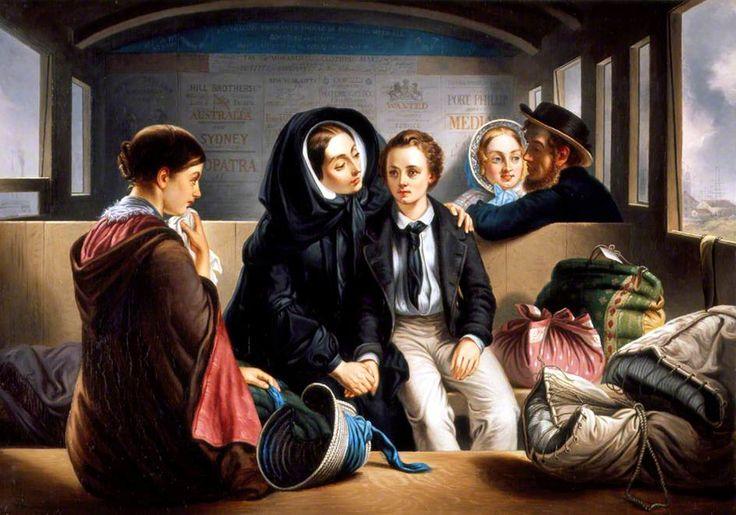 """1856 (ou plus tard) """"Second Class, the Parting"""" par Abraham Solomon (seconde version) - Huile sur toile (54.5 x 76.3 cm) - Southampton City Art Gallery Civic Centre, Southampton, Hampshire, England"""