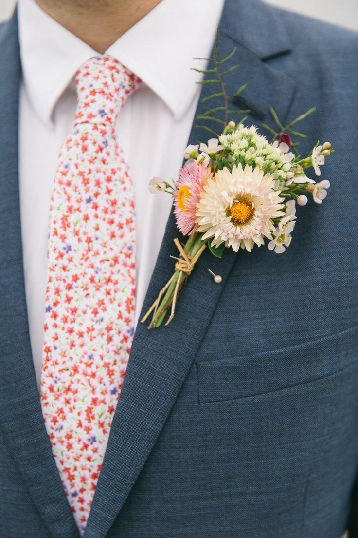 Liberty print tie - Buttonhole Groom Pink White Flowers Creative Cool Bohemian Harbourside Wedding http://carohutchings.com/