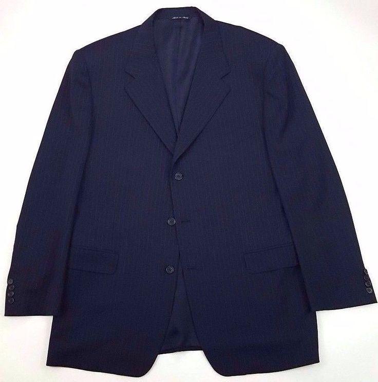 CANALI Suit JACKET Blazer 48R Blue PINSTRIPE Wool ITALY 3 Button MENS Size MAN** #Canali #ThreeButton