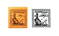 #Australia Rubber Stamp for #ThinkingDay. Great for passports or making Australia swaps.From MakingFriends.com