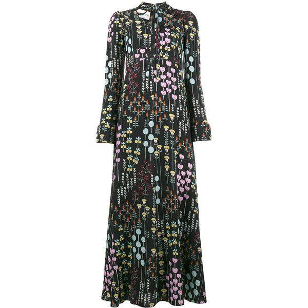 Valentino floral print silk maxi dress (243.410 RUB) ❤ liked on Polyvore featuring dresses, black, valentino dress, floral print maxi dress, multi color maxi dress, floral print dress and multi coloured dress