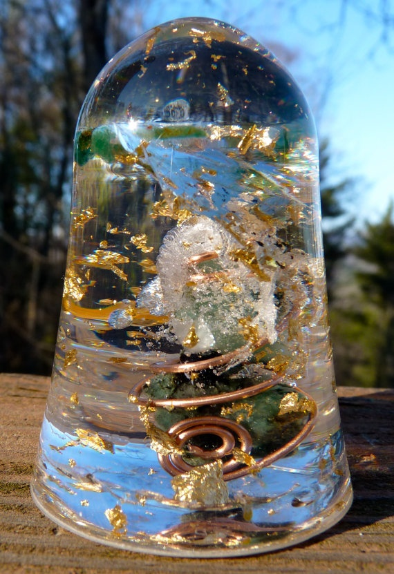 Orgone Energy Cone 2 Emeralds Gold Flakes by siliconmountainstore, $20.00
