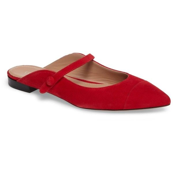 Lewit Gianna Mary Jane Mule (Women) (3.670 RUB) ❤ liked on Polyvore featuring shoes, red suede, red mary jane shoes, red flat shoes, strappy flat shoes, flat mules shoes and pointed toe flat mules