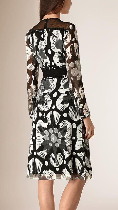 Черный / белый Платье из шелка и кружева с эффектом деграде - Изображение 2