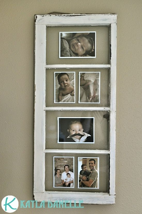 Old Window Picture Frames. This girl has a great little blog with some cute other ideas too.