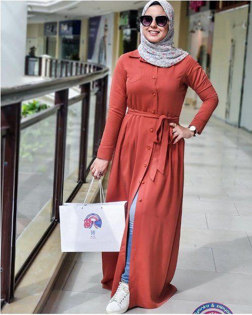 Open Dress With Jeans Hijab Style Just Trendy Girls Hijab Fashion Fashion Clothes Women Hijabista Fashion