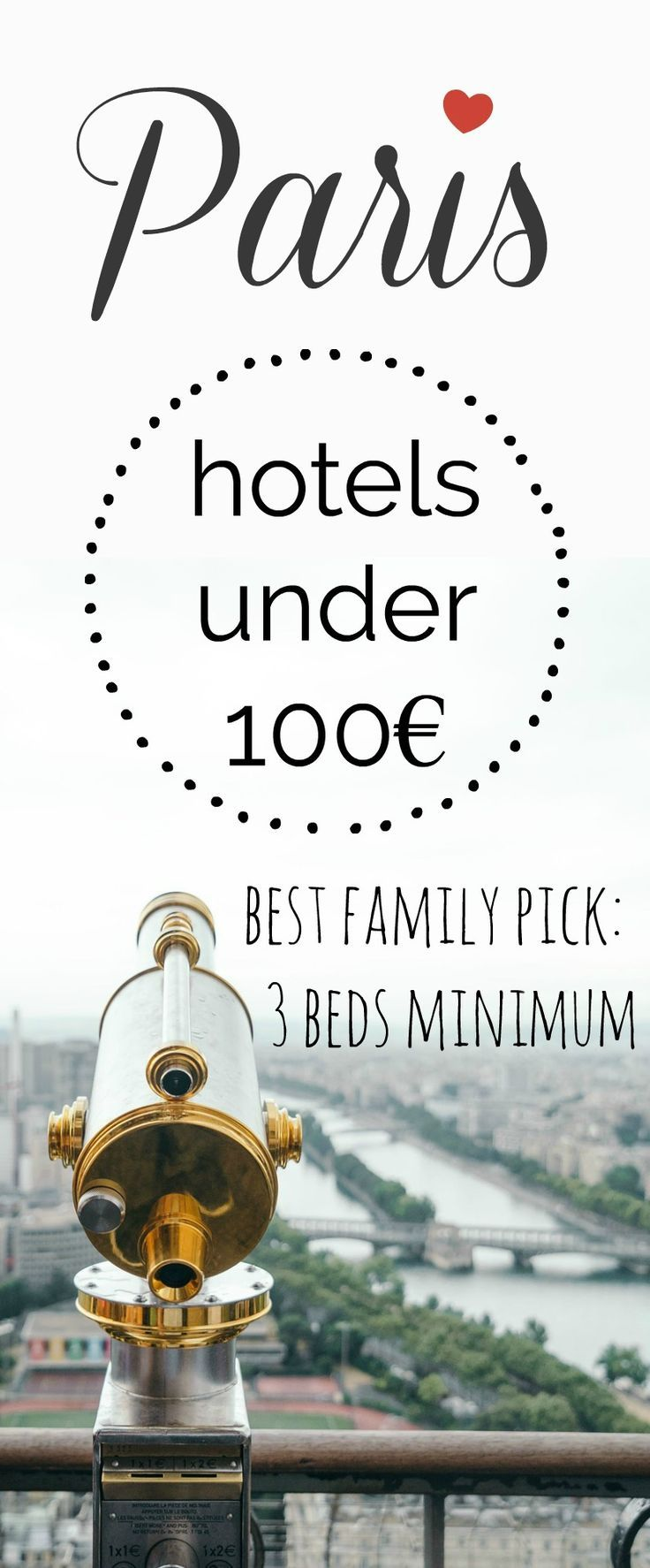 visit#Parison a#budgetwith our top selection of#hotelsthat will cost you less than 100€. Perfect for your#familyvacationas it's 3 beds minimum.#Pariswithkids