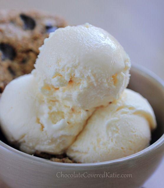 Healthier Ice Cream Alternative, with no soy, no coconut, no eggs, no dairy, and no sugar required: http://chocolatecoveredkatie.com/2013/07/05/ice-cream-recipe-healthy-vegan/