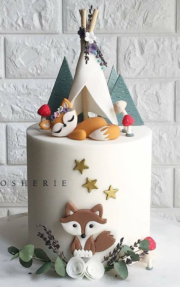 Boho Chic Fox Woodland Cake Kiddie Cake Ideas In 2019