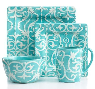 Tabletops Unlimited Dinnerware Mia Textured Teal 4 Piece Place Setting in teal with raised detail. Includes dinner plate salad plate cereal bowl and mug.  sc 1 st  Pinterest & 164 best Teal turquoise aqua dinnerware images on Pinterest | Dishes ...