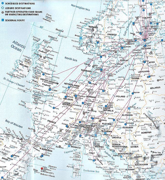 Finnair Route Map Europe