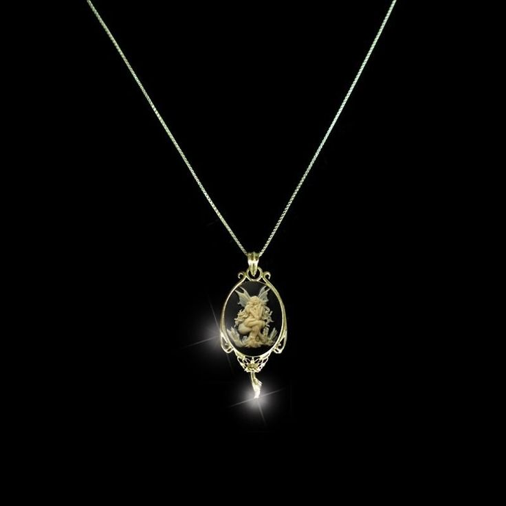 Sterling Silver 925 Slim Pendant THINK FAIRY Gold Plated Necklace + Chain gift
