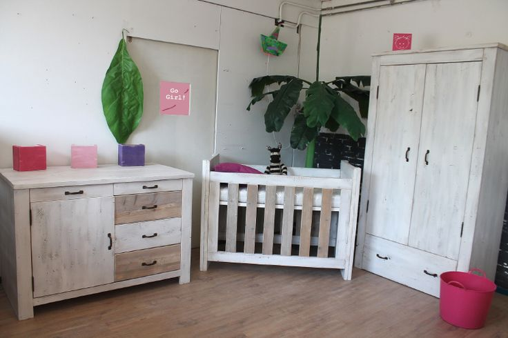 Great Furniture for your baby and..teenager.  Zee...made in Holland! The furniture can be changed in time! You can change the babybed into a single bed. The Cupboard can be changed into a desk. Old wood. Reclaimed wood. Nursery. babyroom Baby Zimmer Bedroom Kids.