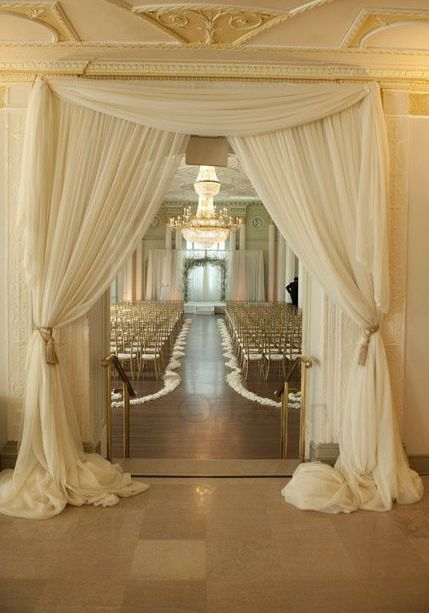 Draping at the entrance to the ceremony: Entrance Way, The Doors, Dresses Up, Fabrics Decoration, Indoor Weddings, Grand Entrance, Weddings Ceremony, Weddings Draping, The Bride