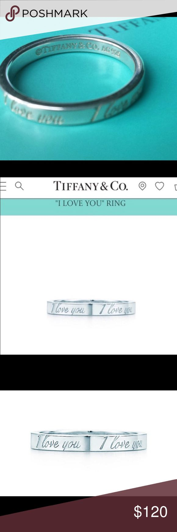 "Tiffany Ring - ""I love you"" Silver Tiffany's Ring, says I love you on it 4 times around the outer band. Inner band says ""Tiffany and Co"". I just no longer wear it, there is nothing wrong with it. It will come in a Tiffany's box, and will be cleaned before it's sent. It's in great shape. Is very simple and goes with every outfit. :) price can be negotiated slightly! Tiffany & Co. Jewelry Rings"
