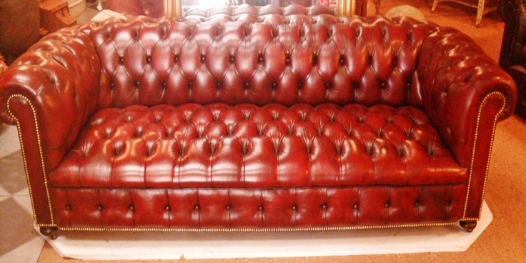 Antique Chesterfield Sofa | Large Edwardian Antique Leather Chesterfield Sofa