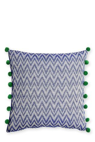 Buy Large Blue Woven Chevron Cushion from the Next UK online shop
