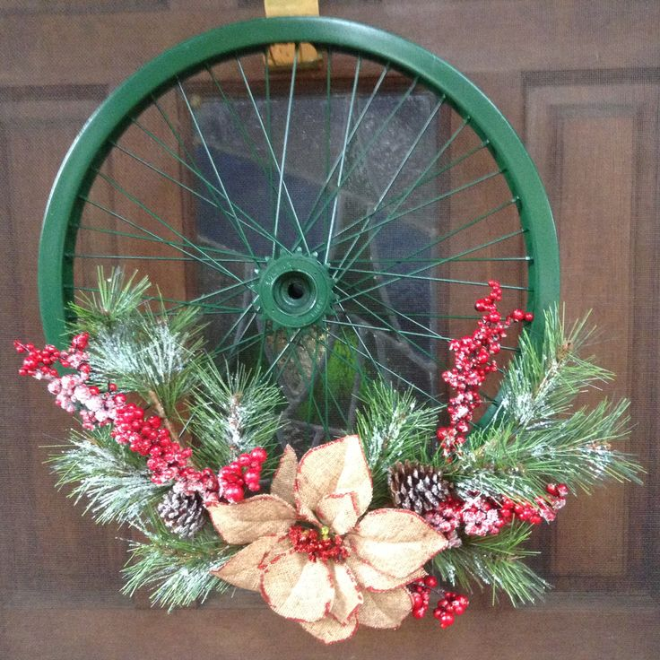 Bicycle wheel Christmas wreath; Just Jenn Home Arts